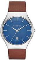 Skagen Mens Grenen Stainless Steel and Brown Leather Strap Watch