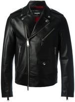 DSQUARED2 classic biker jacket - men - Cotton/Calf Leather/Polyester/Wool - 50