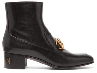 Gucci Quentin Chain Embellished Leather Ankle Boots - Mens - Black