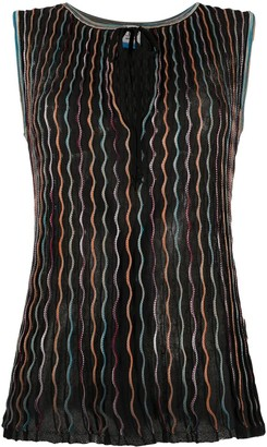 M Missoni Fine-Knit Embroidered Blouse