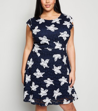 New Look Curves Floral Spot Lace Dress