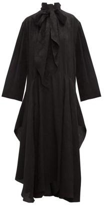 Chloé Crinkled Flower-jacquard Midi Dress - Black