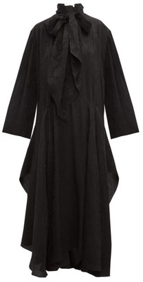 Chloé Crinkled Flower-jacquard Midi Dress - Womens - Black