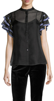 Temperley London Elette Silk Embroidered Tiered Sleeve Blouse