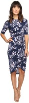 Ivanka Trump Printed Matte Jersey Knot Dress with Sleeves