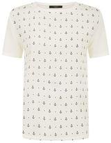 Max Mara Geranio Anchor Print Silk T-Shirt