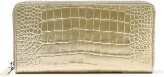 Smythson Mara Metallic Croc-effect Leather Continental Wallet