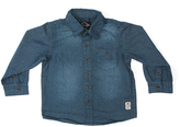 Something Strong Blue Pocket Denim Button-Up - Boys