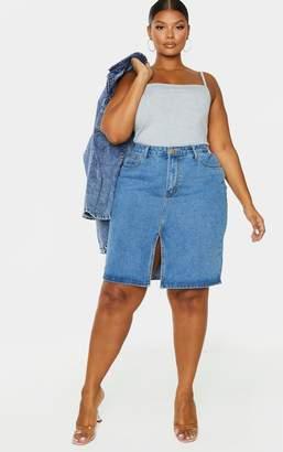 Cosmic Plus Mid Blue Wash Split Detail Denim Midi Skirt