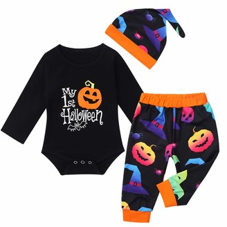 Freebily Baby Boys Girls First Halloween Outfits Infant Long Sleeve Romper+Pants+Hat Striped Outfits Sets 3Pcs Fall Clothes Black (Pumpkin Pattern) 3-6 Months