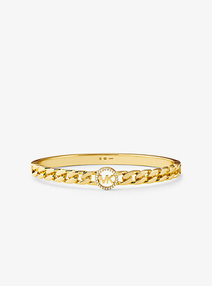 Michael Kors 14K Gold-Plated Sterling Silver Pave Logo Curb Link Bangle