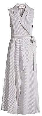 Diane von Furstenberg Women's Charleigh Striped Sleeveless Shirtdress