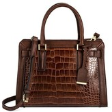 Women's Faux Leather Belted Tote with Crossbody Strap Handbag -Merona