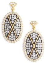Freida Rothman Women's Contemporary Deco Pave Drop Earrings