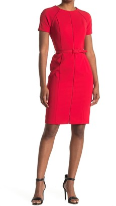 Maggy London Short Sleeve Belted Sheath Dress