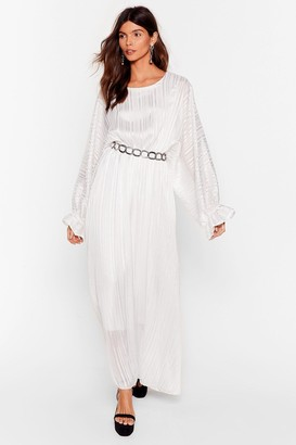 Nasty Gal Womens Love Me Stripe Balloon Sleeve Maxi Dress - White - S