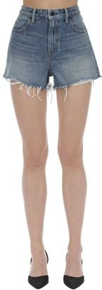 Alexander Wang Raw Hem Cotton Denim Shorts