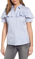 Halogen Ruffle Front Poplin Shirt (Regular & Petite)