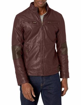 X-Ray Men's Slim Fit Over Washed Faux Leather Coat