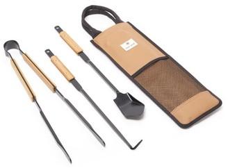 Snow Peak Steel-metal And Bamboo Fire Tool Set - Brown