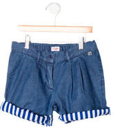 Il Gufo Girls' Pleated Denim Shorts