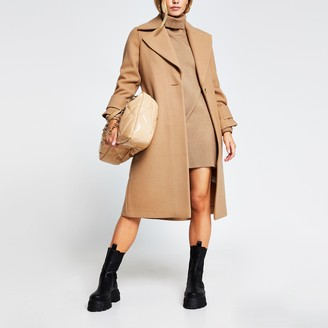 River Island Womens Petite Camel single breasted cuff detail coat