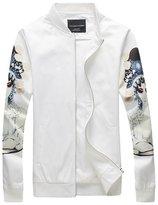 QZUnique Men's Fashion Slim Fit Full-Zip Long Sleeve Printed Jacket