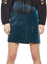 Topshop TALL Wet Look Velvet Mini Skirt