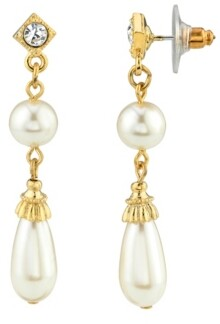 Downton Abbey Simulated Imitation Pearl Crystal Accent Drop Earring
