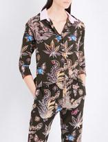 Sandro Bird and floral-print silk shirt