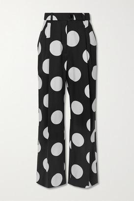 Stine Goya + Net Sustain Chet Polka-dot Mikado Straight-leg Pants - Black