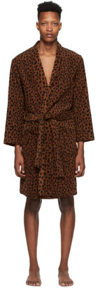 Wacko Maria Brown and Black Leopard Gown Coat