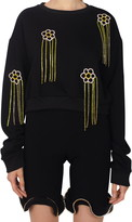 Area Floral Crystal Fringe French Terry Sweatshirt