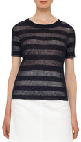 Akris Punto Striped Crewneck Knit Top, Navy/Cream
