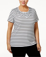 Karen Scott Plus Size Embellished Dragonfly Top, Only at Macy's