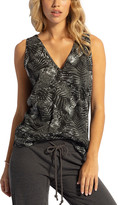 Lagaci Women's Tank Tops BLACK - Black Palm Leaf Lace-Up V-Neck Tank - Women
