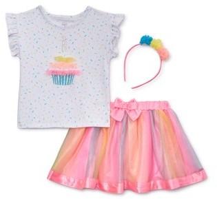 Wonder Nation Baby Girl & Toddler Girl Birthday T-shirt, Tutu Skirt & Headband, 3pc Birthday Party Outfit Set (Size 12M-5T)