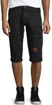 PRPS Distressed Slim-Fit Denim Shorts, Black