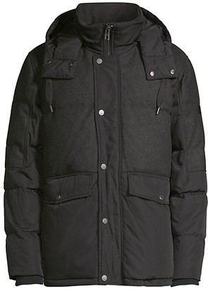 Andrew Marc Hooded Blocked Down Puffer Jacket