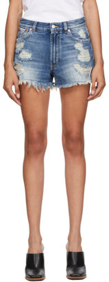 Givenchy Indigo Denim Ripped Shorts