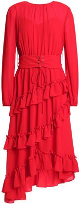 Mikael Aghal Asymmetric Ruffled Crepe Dress