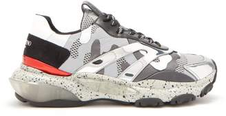Valentino Bounce Camouflage Mesh Trainers - Mens - Silver Multi