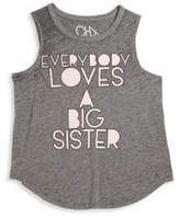 Chaser Toddler's, Little Girl's & Girl's Everyone Loves A Big Sister Triblend Jersey Muscle Tee
