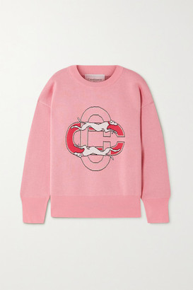 Casablanca Intarsia Cotton Sweater - Pink