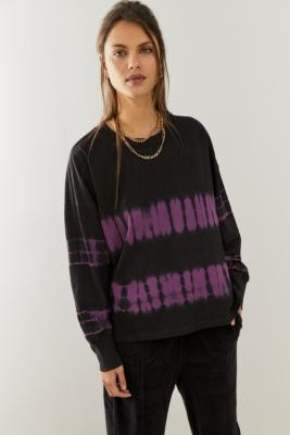 Champion Long-Sleeve Tie-Dye T-Shirt - Purple XS at Urban Outfitters