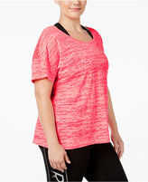 Material Girl Active Plus Size Mesh-Back Space-Dyed T-Shirt, Only at Macy's