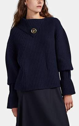 J.W.Anderson Women's Snap-Detailed Rib-Knit Wool-Cashmere Sweater - Navy