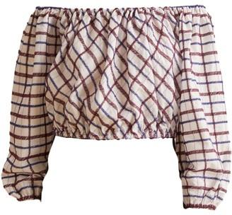 Merlette New York Chalton Off-The-Shoulder Cropped Cotton Blouse