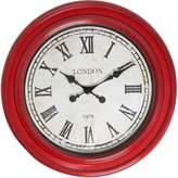 Casa Uno London Roman Numerals Round Wall Clock, 61cm, Bumbo Red