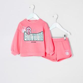 River Island Mini girls pink printed sweatshirt outfit